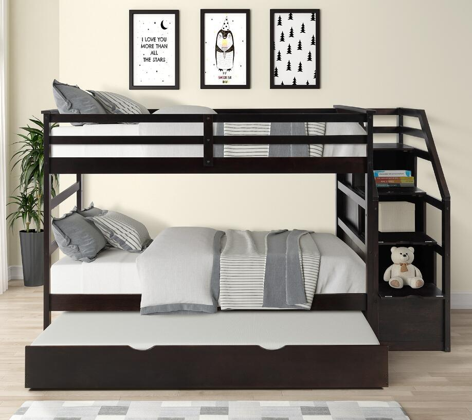 US STOCK Twin-Over-Twin Bunk Bed with Twin Size Trundle and 3 Storage Drwers Espresso LP000064AAP