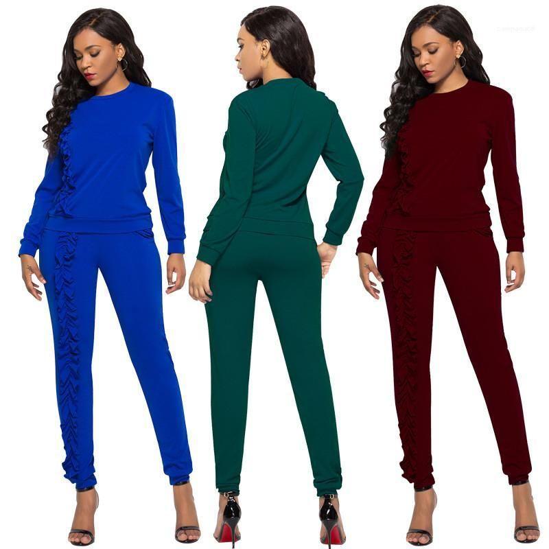 Suits Mürettebat Boyun Tracksuits Moda Tok Renk Uzun Pantolon 2PCS Bayanlar Setleri Casual Slim fırfır Tasarımcı Woman Womens