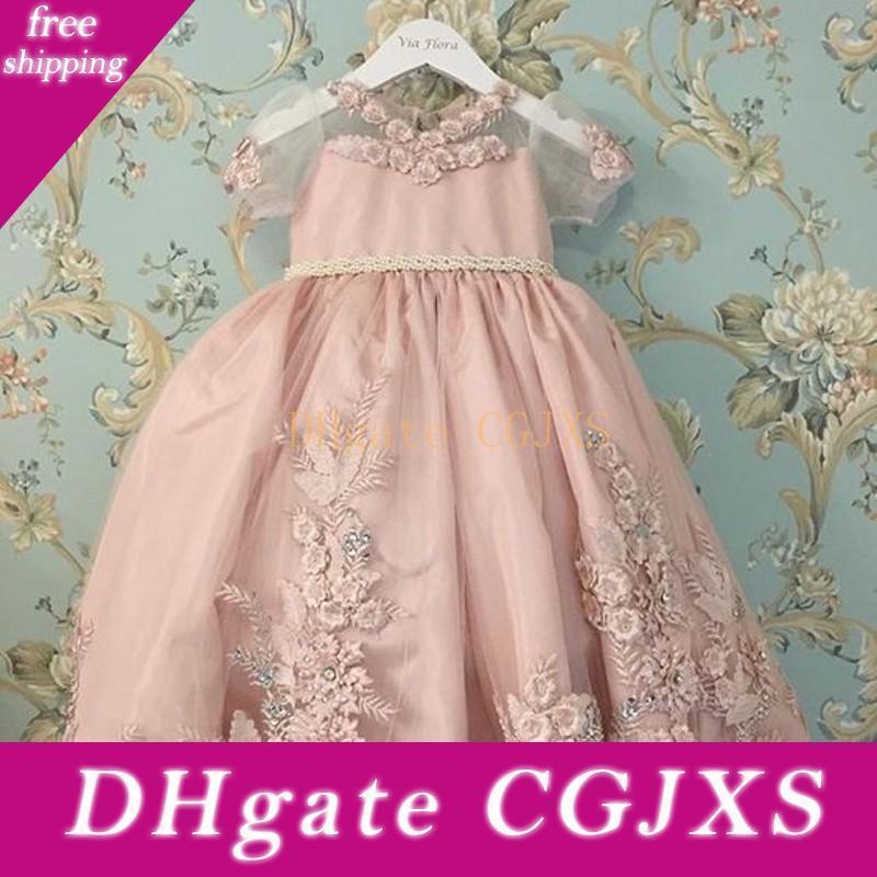 Pink Princess Little Girls Party Dresses 2019 perline merletto Applique maniche corte puro fiore ragazza abiti bambini spettacolo Gowns