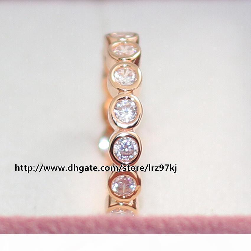 Monili anello delle donne anello stile europeo di design 100% 925 d'argento in oro rosa placcato Seducenti brillante anello con Clear Cz