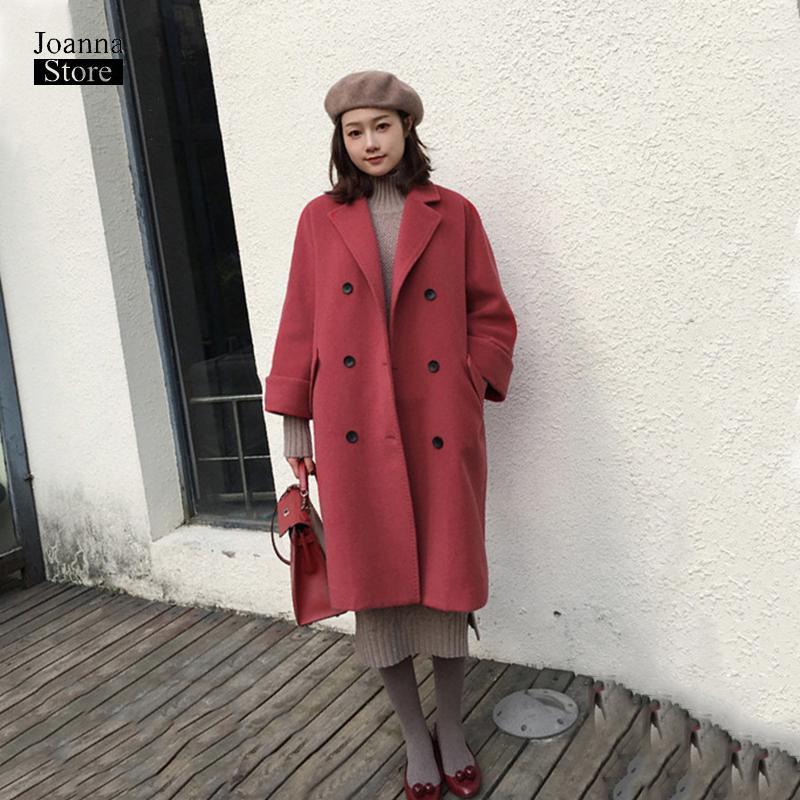 Zarif Ofis Kış Coat Kadınlar Tek Göğüslü Yün Mont Haki Kırmızı Kore Ceket Artı Boyutu Vintage Güz Dış Giyim Ofis Giysileri