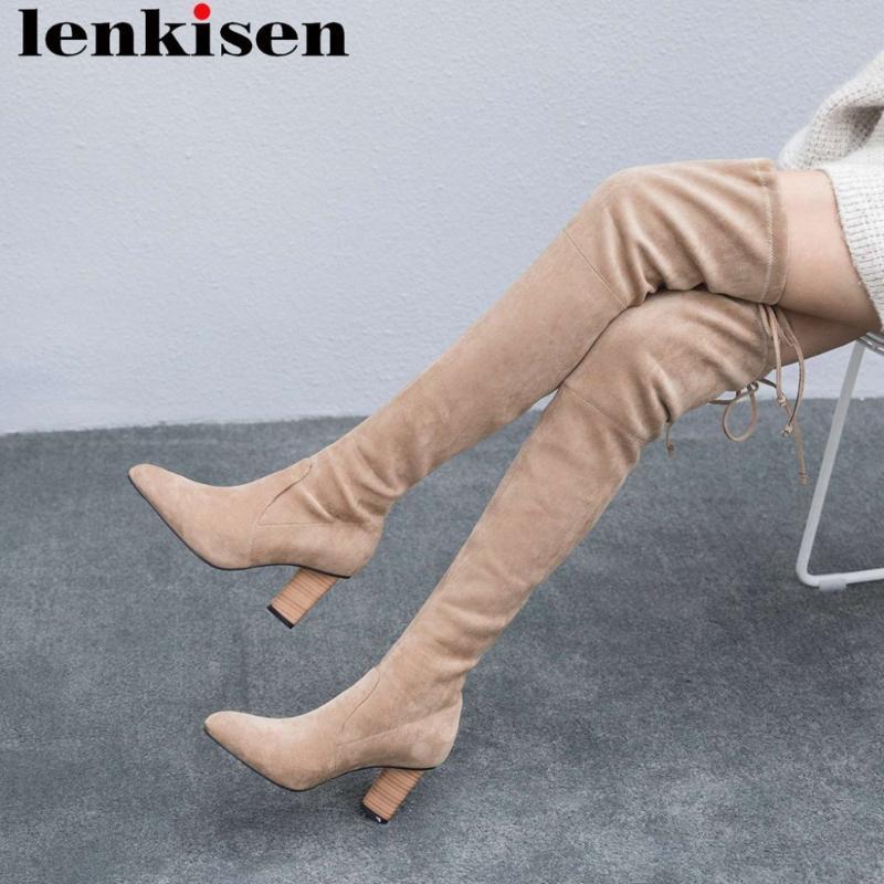 2020 muchachas atractivas del muslo botas altas esbelta pajarita resbalón en punta del dedo del pie zapatos de tacón alto gruesos estiran los zapatos del club nocturno streetwear L61