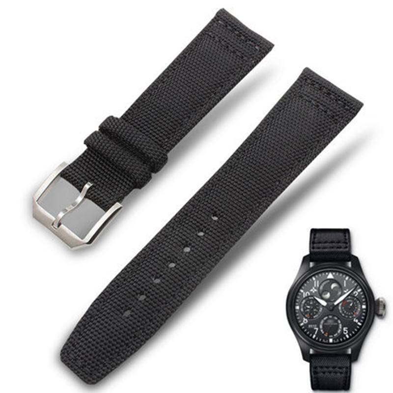 20 21 22 milímetros lona Nylon Couro faixa de relógio de substituição Wrist Band Sports Retro Men pulseira para Big Pilot