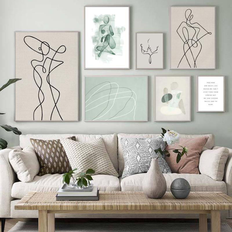 2020 Abstract Line Drawing Face Woman Body Quotes Wall Art Canvas Painting Posters And Prints Wall Pictures For Living Room Decor From Babykai 7 64 Dhgate Com
