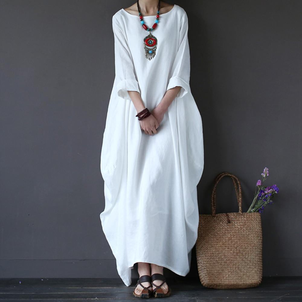Cotton Linen White Maxi Dress Women Spring Summer Loose Plus Size Big Hem Boho Robe Long Dresses Three-Quarter Sleeve Kaftan 5XL Y200601