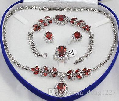 Новый стиль горячей продажи женщин ювелирные изделия красный кристалл серебряный кулон ожерелье кольцо браслет серьги ювелирные изделия способа венчания партии