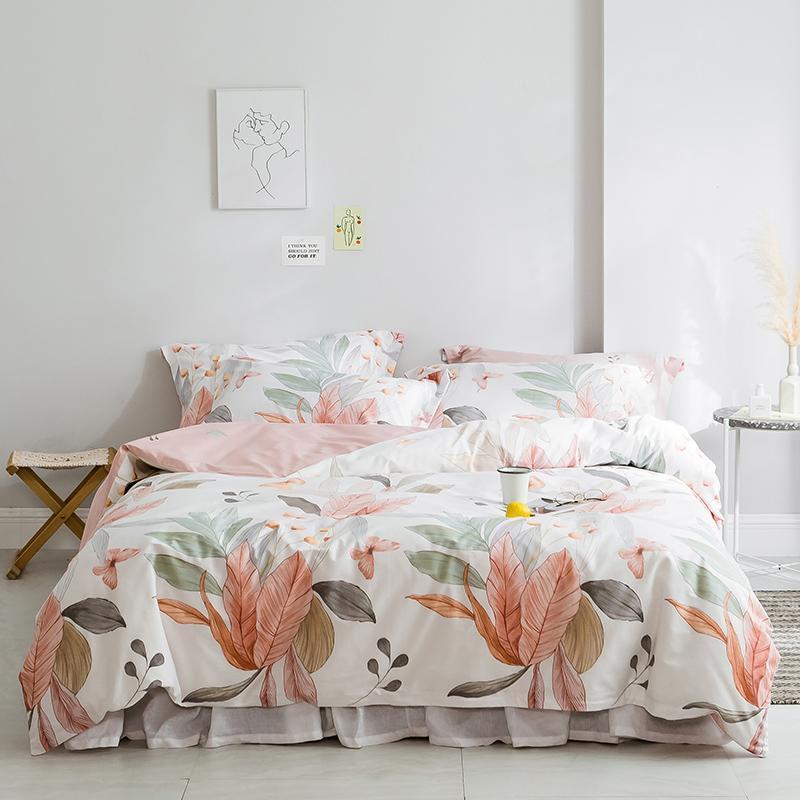 Ensembles de literie Feuilles de fleurs Prise 100% coton Ultra Soft Soft Enfants Filles Twin Queen King Taille Couverture Couverture Détaille Détaille équipée