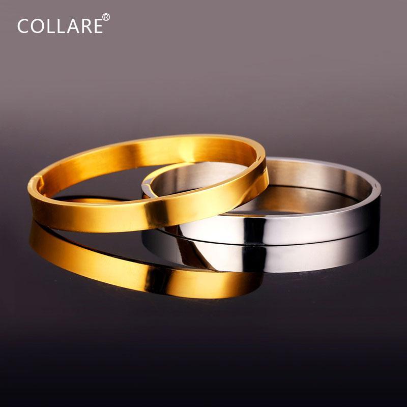 Kadınlar Hediye Toptan 316L Paslanmaz Çelik Erkekler Takı Altın Renk Bileklikler Bilezikler H036 için Collare Basit Bilezik