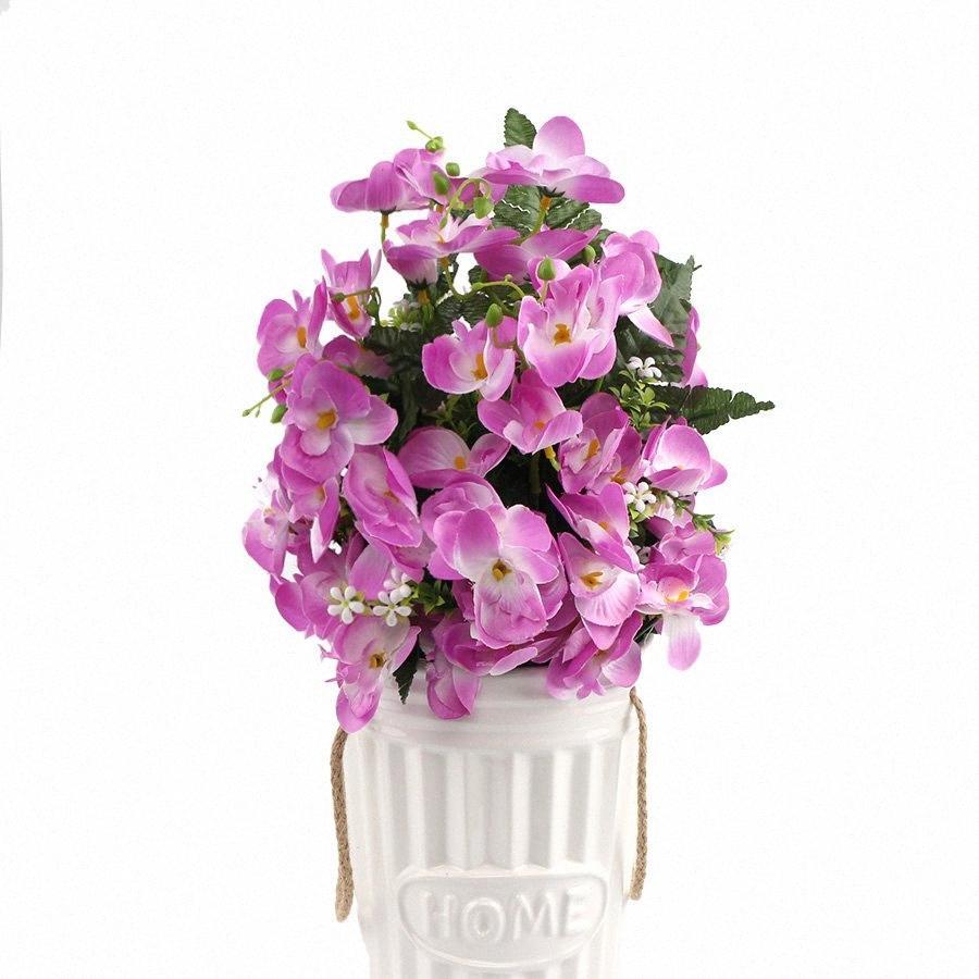 3pcs artificiale di modo di fiore di seta Phalaenopsis orchidea di farfalla con il foglio per la cerimonia nuziale decorazione domestica Flores Phalaenopsis G9740 0AqF #