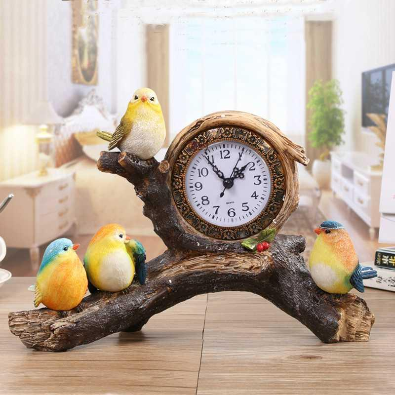 Hot Nordic Bird Branch Table Clock Home Decoration Living Room Bedroom Office Table Watch Mute Resin Desk Clock Decoration Gift