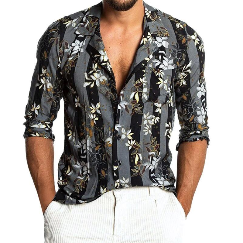 Womail 2020 nueva llegada 2020 colth masculino Semmer Hombres de Baggy playa de Hawai Imprimir manga corta retro botón camisas remata la blusa