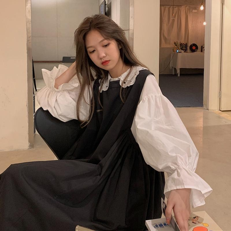 w7C7M ~ Sonbahar Yeni Kore Chic prenses beyaz prenses elbise gömlek uzun + elbise sleeve