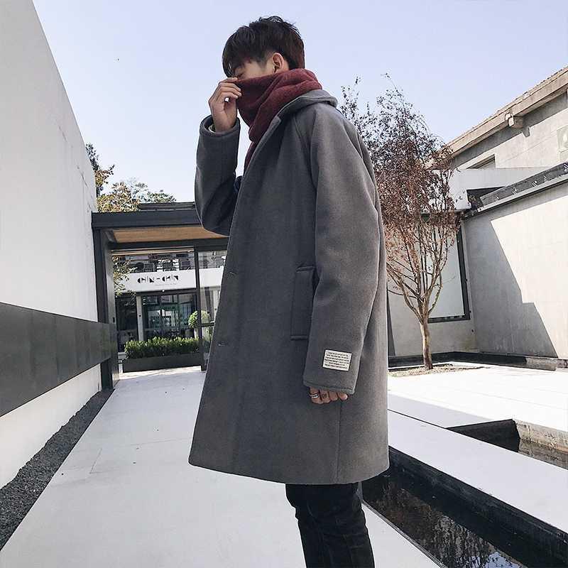 Laine de l'homme mélange hiver manteau de laine épais mode chaude couleur massif occasionnel homme streetwear lâche overcoat mâle m-2xl