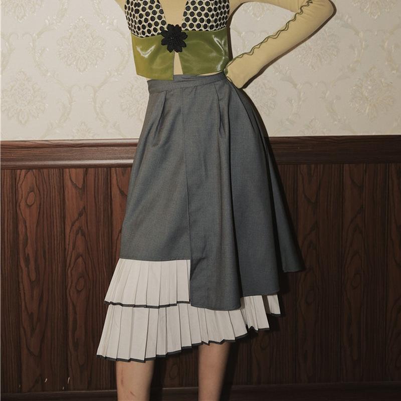 gtuLo Otoño e Invierno diseño de alta costura irregular de la cintura plisada larga falda larga falda mitad de la longitud de adelgazamiento de las mujeres
