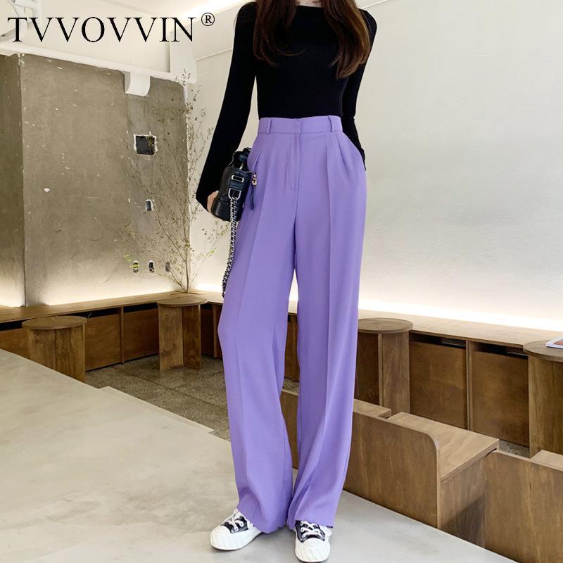 famoso de alta waisted calças retas calças Drape roxas 2,020 Verão Womens cintura alta coreano Commute B745 Casual Feminino