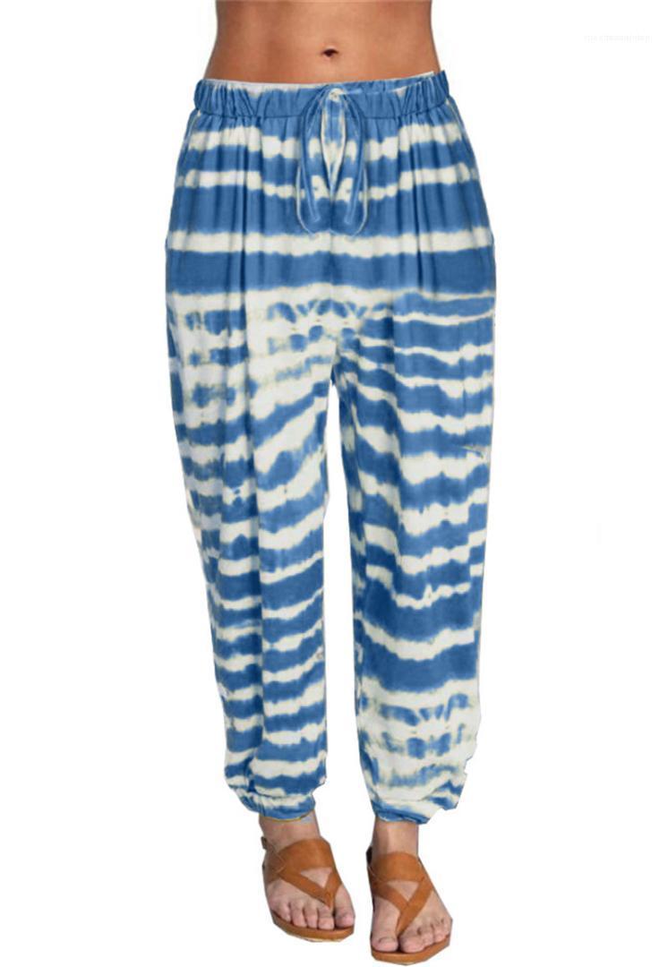 Hosen Striped elastische Taillen-Yoga-Hosen-Bindung gefärbte Rekaxed Hosen für Frauen Mode Fitness Kordelzug Sport Damen
