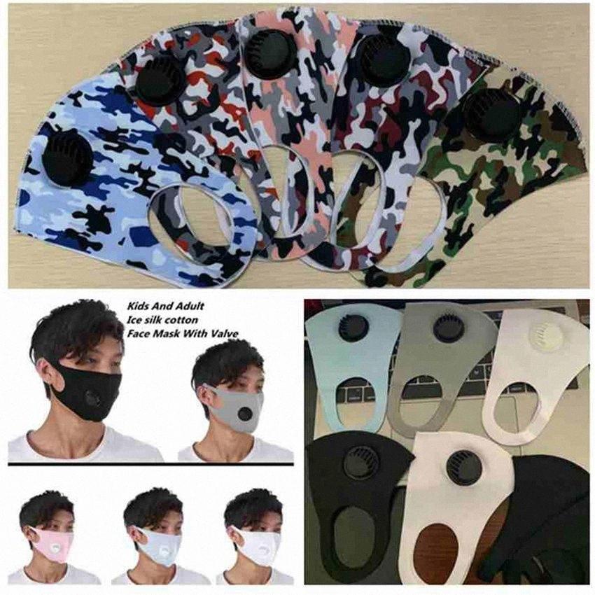 10 colori figli adulti affrontano maschere valvola di respirazione mascherina mascherine di cotone lavabili riutilizzabili anti-polvere di seta maschere facciali camuffamento ghiaccio ZZA2434 6wbT #