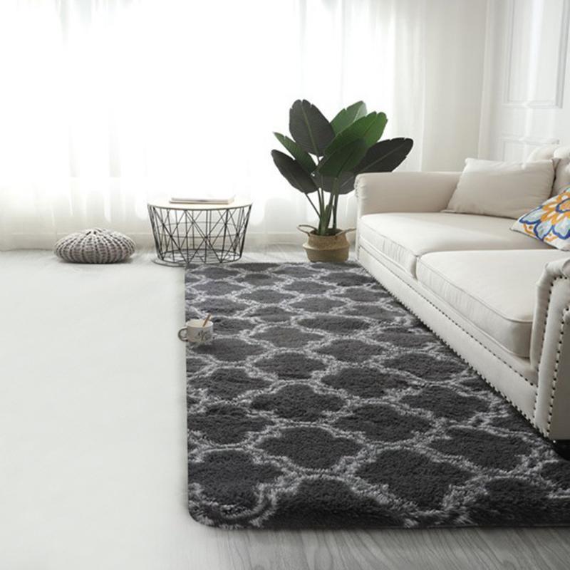 50X160cm Ковер Длинные волосы галстук-окрашенные градиент ковер гостиной спальня Нордик минималистский диван-кровать покрыта нескользким