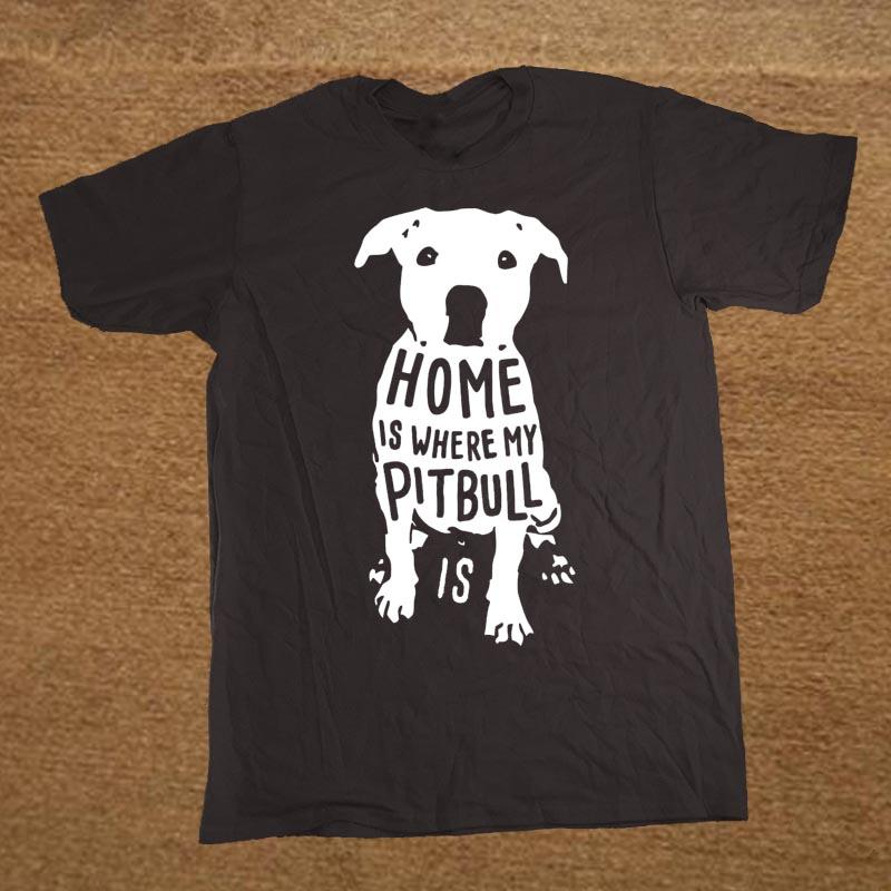 Lar é onde meu Pitbull citação é Xmas engraçado do Natal dos homens Camiseta T-shirt Homens algodão de manga curta T-shirt Top Tees