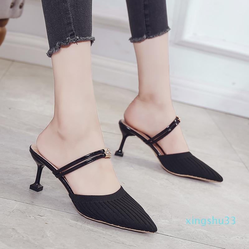 Vente-nouveau Hot talons hauts maille tricot élastique chaussures printemps automne femmes talon strass Fashion Square Mulets Slip-On pompes à talons minces