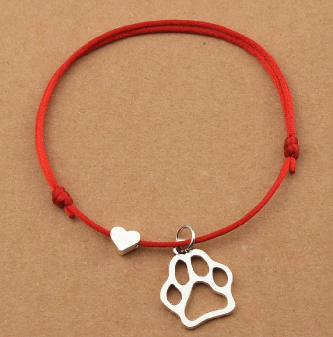 handmade Black dog paw charm Beaded cord Necklace