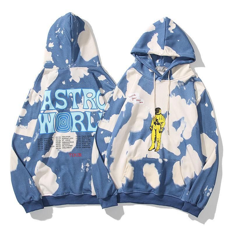 ترافيس سكوت Astroworld الأوروبي وأزياء العلامة التجارية الشارع الأمريكي التعادل صبغ الرجال والنساء فضفاض زوجين سترة طويلة الأكمام