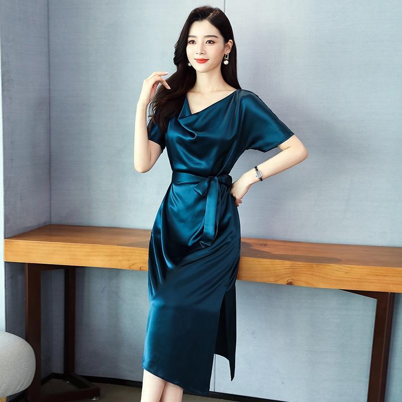 4xAGv Однотонный сатин ацетат сладкий V-образным вырезом высокой талии платье 2020 Летний короткий рукав средней длины х-образный платье
