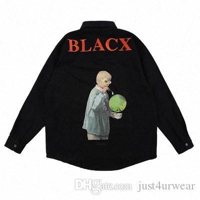 Breves Mens Casual camisas negras impresión de la letra de manga larga camisas de la moda masculina de Hip Hop caliente Venta Tops T9L9 #