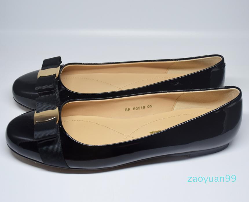 Sıcak Satış-YENİ Gerçek Deri Kadınlar Bow Tie Tasarımcı Schuhe Flats moda lüks ayakkabı kırmızı CHAUSSURES siyah bayan ayakkabı gündelik Düz ayakkabılar
