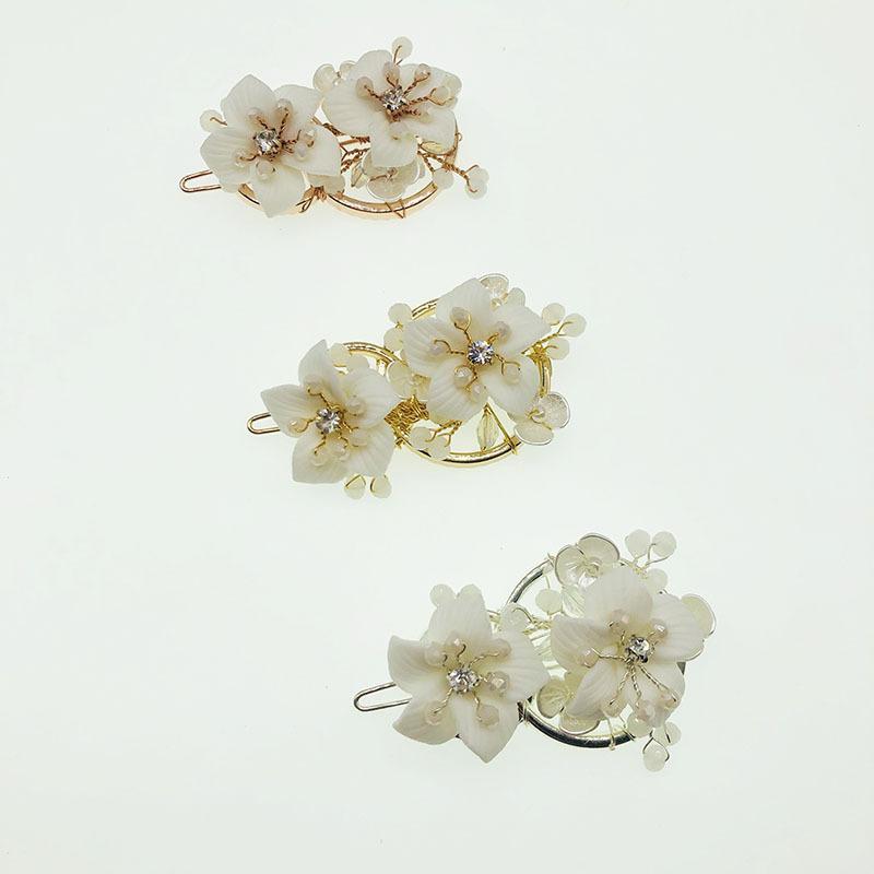 NPASON Brautkopfschmuck drei Farbfroschclip Keramik Weiß Blumen-Klipp Kristall Zweig Haarspange