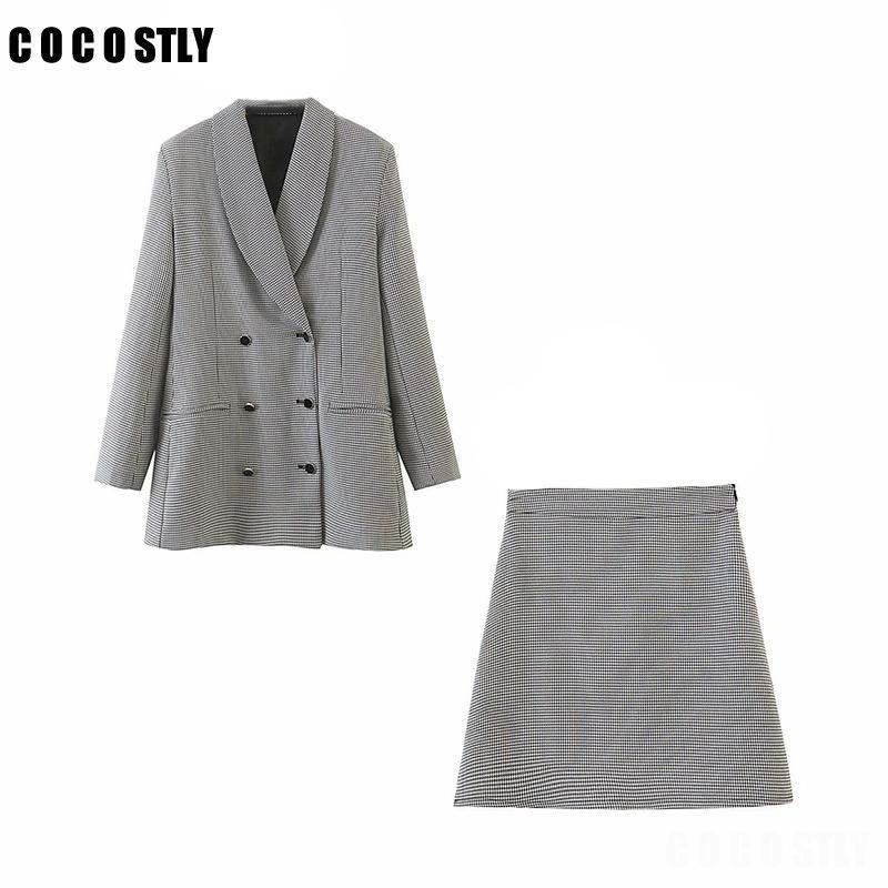 2020 Set Retro Plaid Blazer CROISÉ Veste Jupe 2 pièces Jupe Costume Femme Blazer Costume Bureau dames