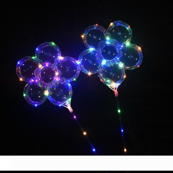 LED prunier ballon 18 pouces Flashing Bobo Boule Light Up Ballons avec poignée de bâton de mariage Birthday Party Decoration OOA5440