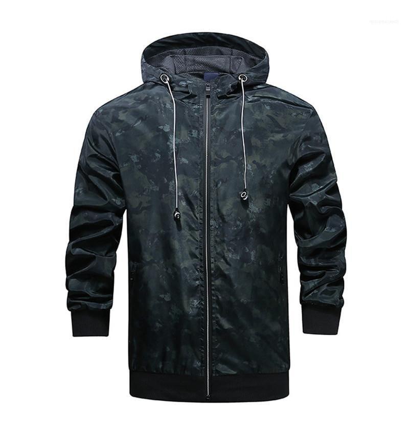 Мужская с длинным рукавом пальто весна Мужские пиджаки с молнией Модельер Камуфляж Толстые куртки с капюшоном