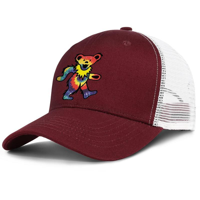 Rock The Grateful dead dancing bear Adjustable Trucker Cap Fashion Baseball Hat Vintage Dad Ball Cap for Men Women grateful and rose