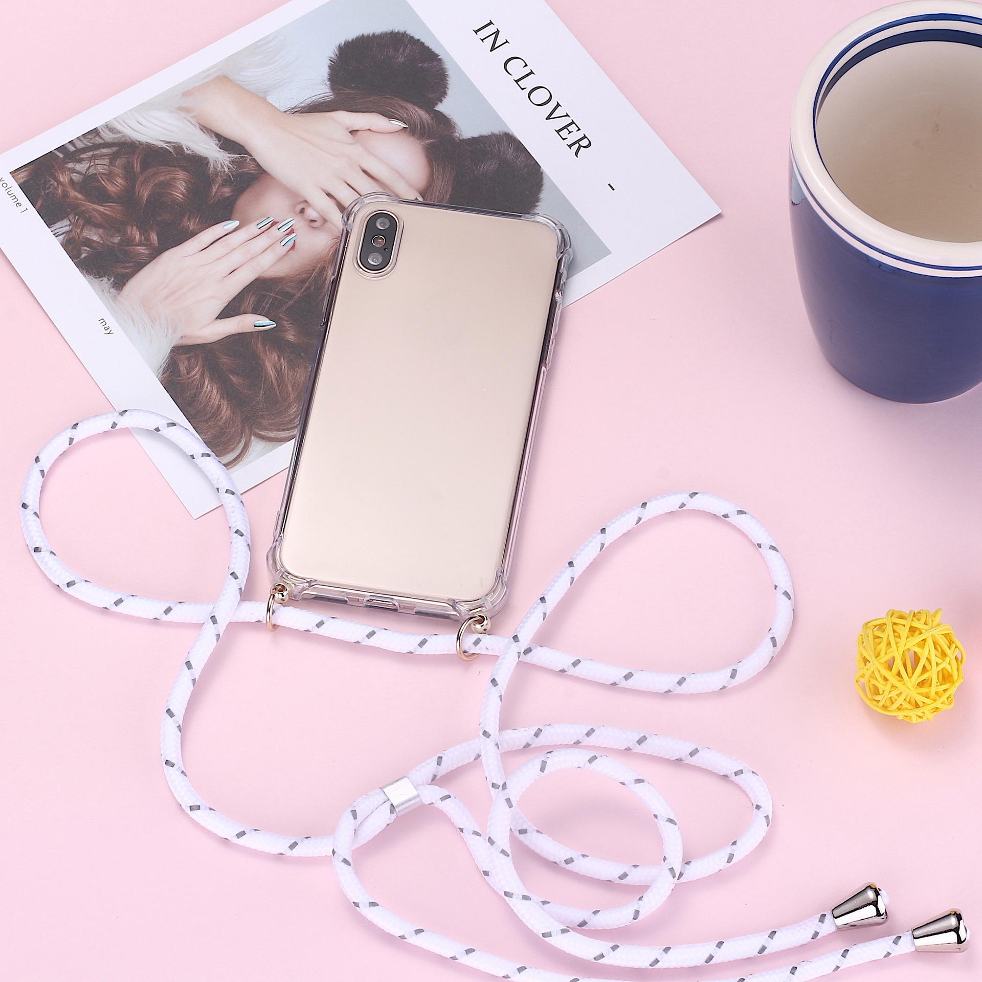 Luxury Lanyard Silicone Phone Case For iPhone 11 Pro Max SE XSmax XR XS X 8 7 Plus Ultra-thin Necklace Rope Cover Coque