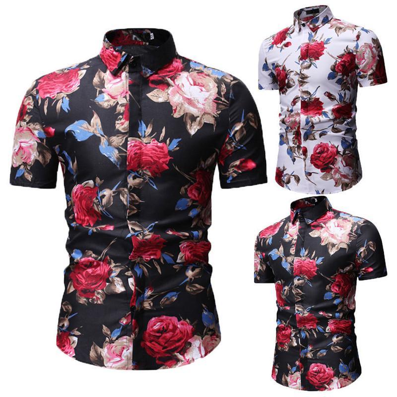 Flor de camisas del tamaño del verano hombres de la manera adelgazan la camisa de fitness corto floral de la manga camisa para hombre Ropa de moda para hombre Casual