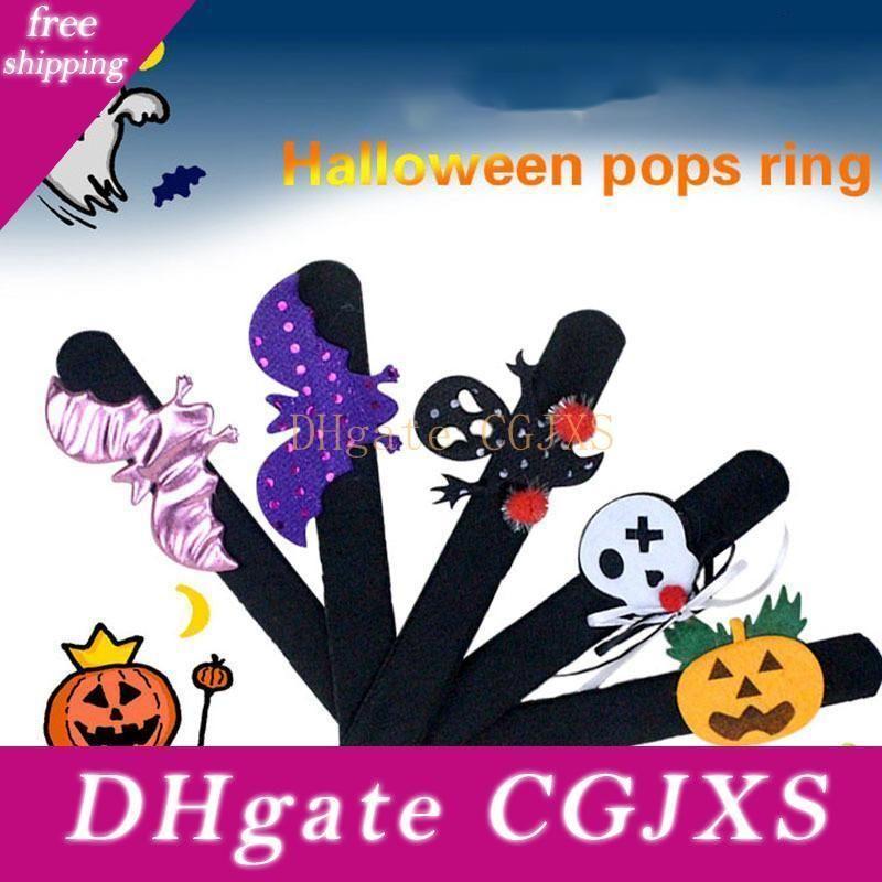 Halloween Pops Ring Cloth Pat Circle Pat Bracelet Pumpkin Spider Skull Ghost Pat Circle Bracelet Kids Halloween Gift