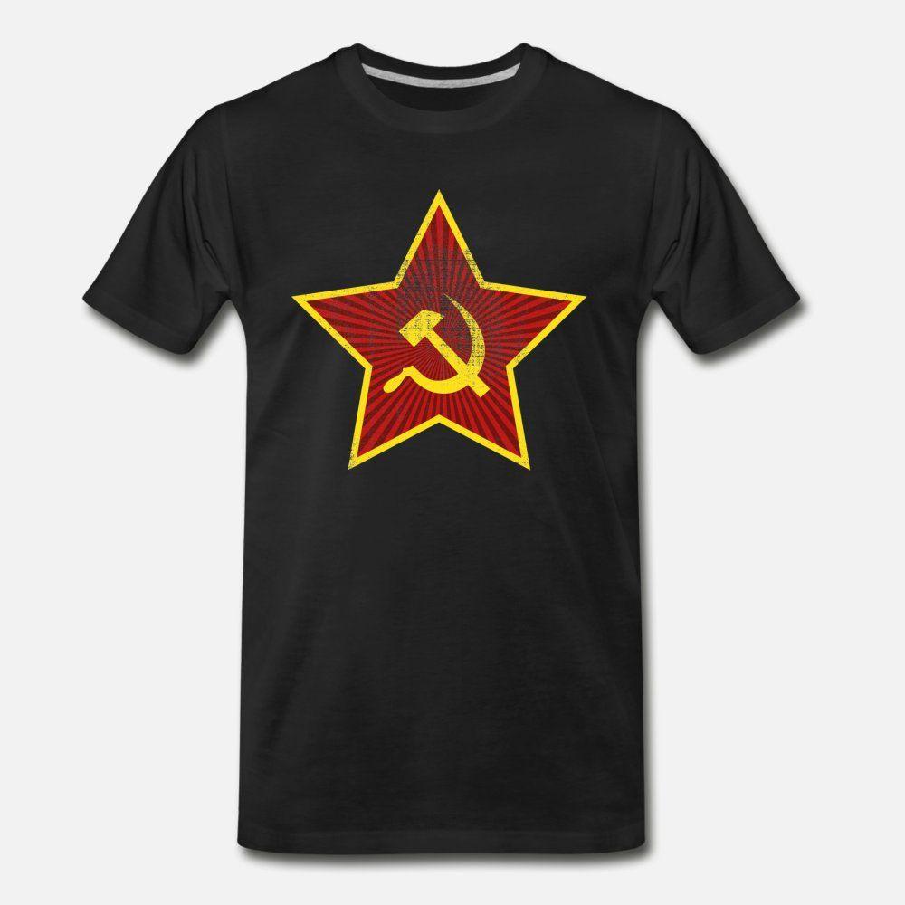 Vintage, retro, comunista de la estrella martillan hombres de la camiseta personalizada camisa de algodón tamaño S-3XL familia famoso nuevo estilo del resorte único