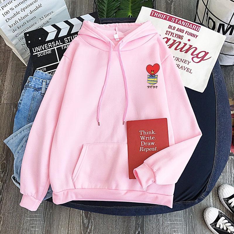 새로운 캔디 컬러 스웨터 개인의 모든 경기 가짜 포켓 사랑 인형 패턴 까마귀는 인형 셔츠 커플 셔츠 eIDp2 땀