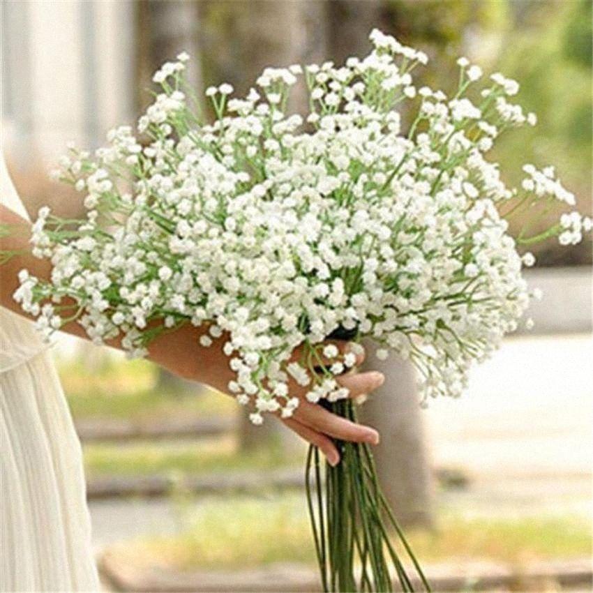 Branca bebês respiração artificial flores plásticas Gypsophila DIY Buquês de flores casamento Arranjo Home Decor sKDx #