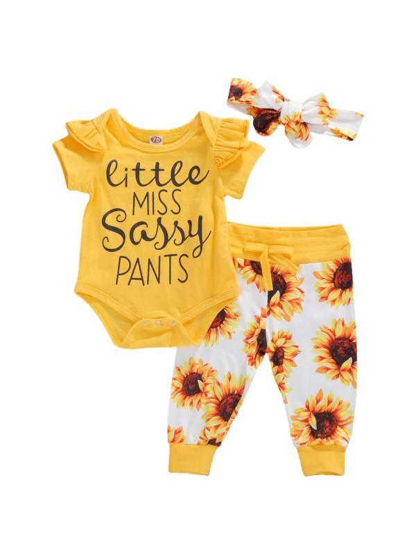 Geagodelia vêtements bébé fille manches courtes mis justaucorps pantalon à long tournesol + legging bandeau vêtements pour bébés d'été