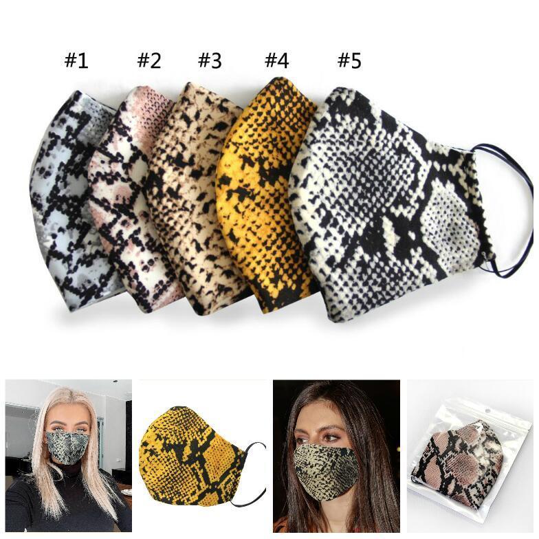 Piel de leopardo válvula Mascarilla boca individual paquete PM2.5 respirador a prueba de polvo de la contaminación de smog reutilizable lavable de algodón Máscaras