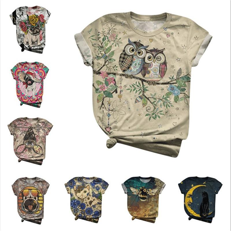 Summer Women T-shirts New Design 3D Animal Dog Birds Print O-Neck T-Shirts Plus Size 3XL T-Shirt Tops Tees Mujer 200925
