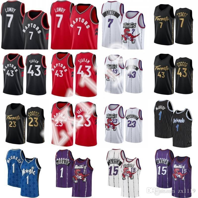 NCAA Kyle 7 Lowry Pascal 43 Siakam Fred 23 Vanvleet Basketbol Forması Sitiched Tracy 1 McGrady Vince 15 Carter Retro Gömlek