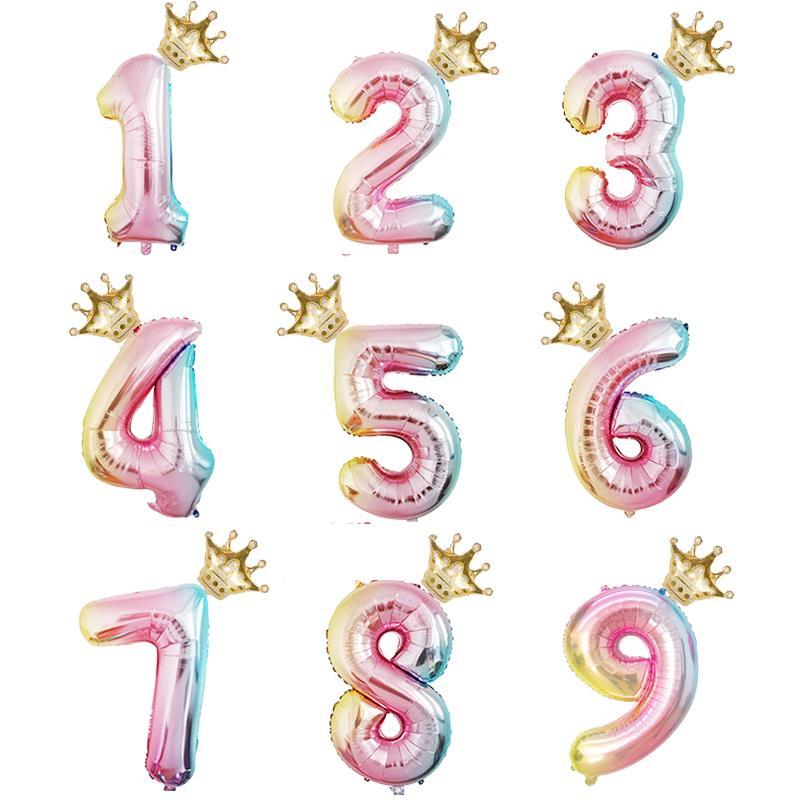 2pcs / lot de 32 pulgadas Número de dígitos hoja hincha del impulso del aire de cumpleaños del partido del festival Kids Party aniversario Corona Decoración Suministros