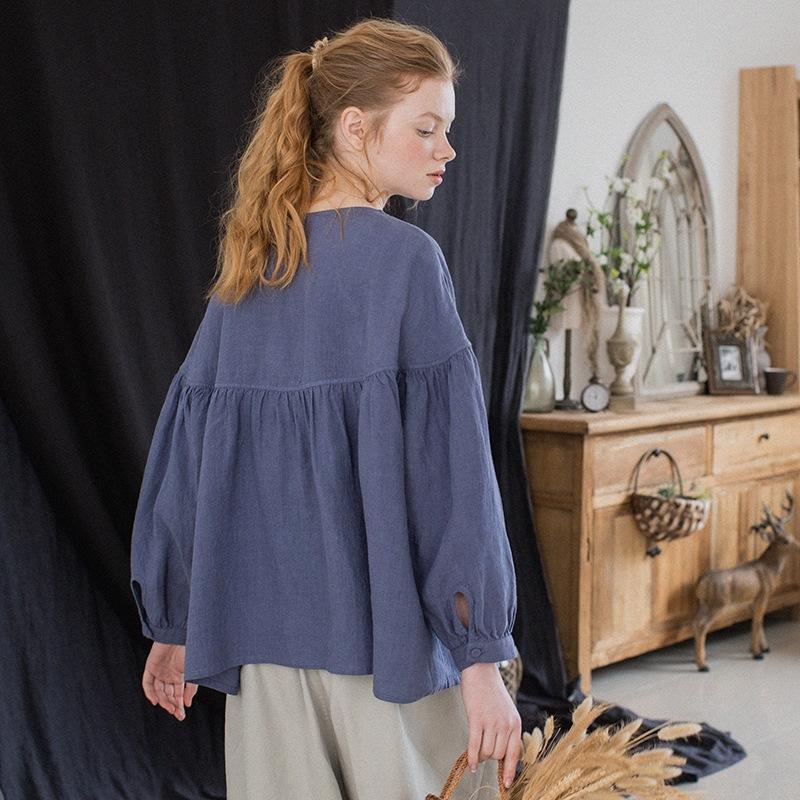 svuy1 Baumwolle Frauen 2019 Kleidung Frühjahr runder Sommer neue 9-Punkt-Frauen Leinenhülse und Ansatz Wolljacke violett-blaue Puppe Baumwolle und Leinen