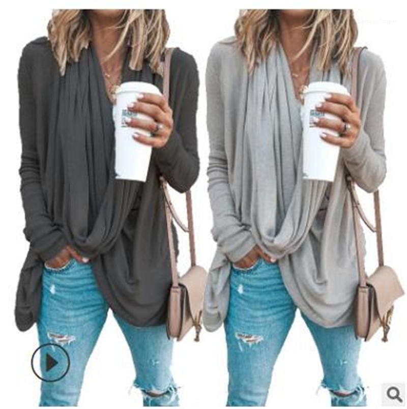 Designer roupa feminina outono Womens T-shirt cor sólida irregular empilhadas Neck Long Sleeve Tops Casual Plus Size