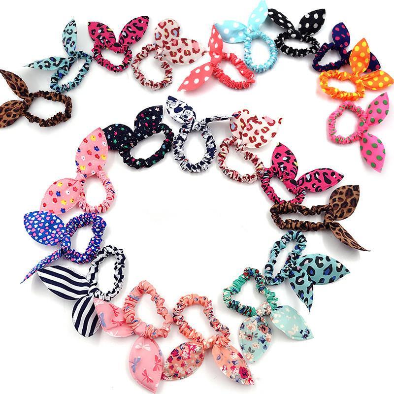 Titolare Fascia per capelli Carino Pois Hairband elastico orecchie di coniglio fascia Ragazze Anello Scrunchy bambini Coda di cavallo accessori per capelli