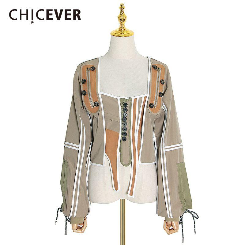 Chicever patchwork hit renk düzensiz palto kadınlar için kare yaka fener kol lace up ceketler kadın 2020 moda giysileri
