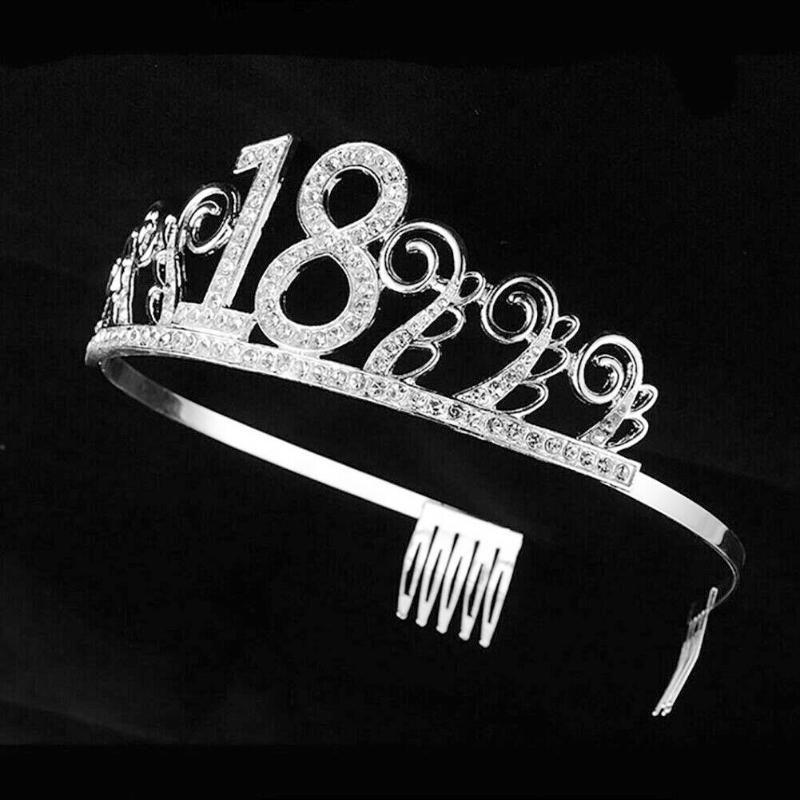 Sombrero de cristal niñas cumpleaños Tiara Rhinestone de la corona del partido Aniversario digital Accesorios para el cabello diadema decoración de banquetes regalo de Bling